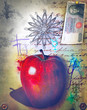Graffiti background with forbidden apple