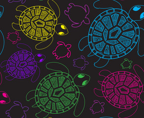Seamless pattern with turtles. Seamless pattern can be used for