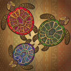 Background pattern with three turtles.
