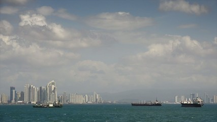 Panama City Central America View Of Cargo Ships And Skyline