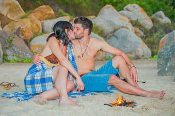 Kiss around campfire