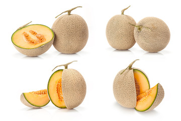 composite of Japanese yellow melon fruit
