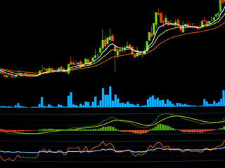Candle stick graph chart of stock trading