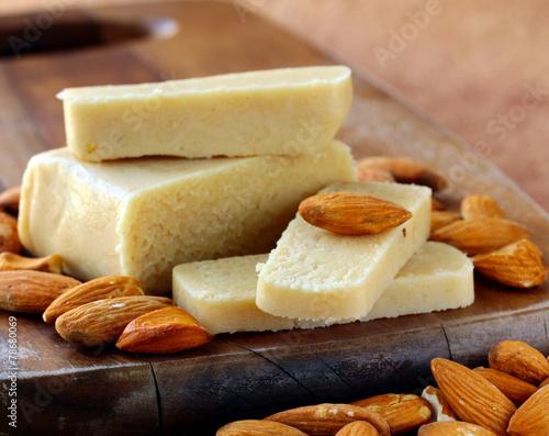Marzipan almonds bar  bread , wish fresh almond - 78680069