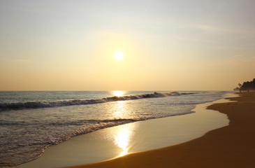 Пляж Коггала вечером при закате солнца