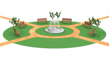 無人の公園の3D-CG