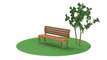 ベンチの3D-CG