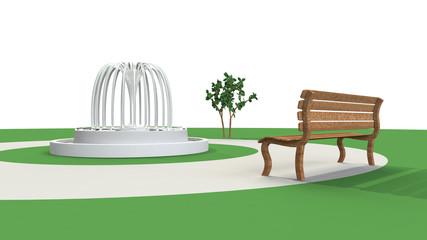 噴水とベンチの3D-CG