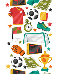 Sports seamless pattern with soccer football symbols.