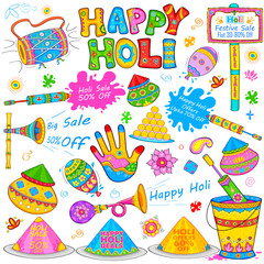 Holi element in Indian kitsch style