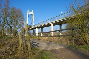 Two bridges under a clear sky in winter
