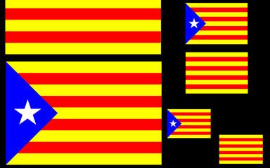 Composition with Estelada and Senyera, flags of Catalonia, 1