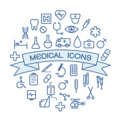 medical icons on white background