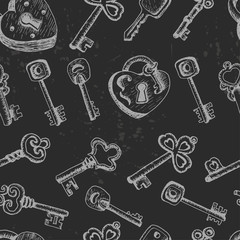 Seamless pattern with different keys on a dark background