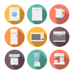 Set of household appliances flat icons on colorful round web