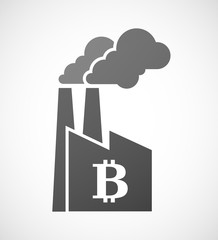 Factory icon with a bitcoin sign