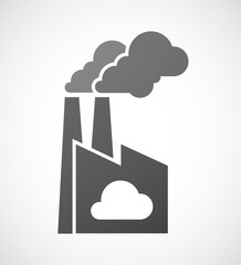 Factory icon with a cloud