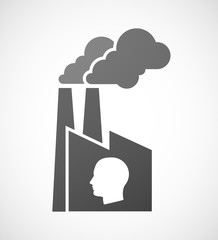 Factory icon with a male head