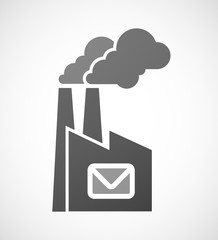 Factory icon with an envelope