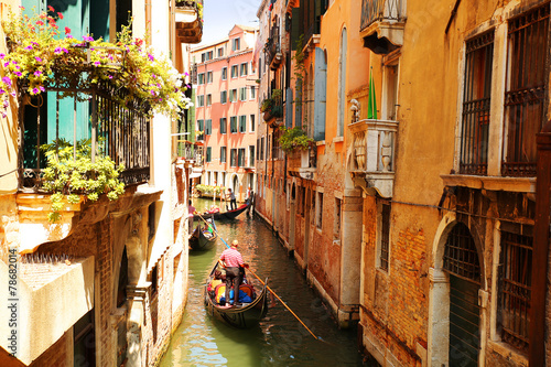 Foto op Canvas Venice Venice. Canal with gondolas, Italy