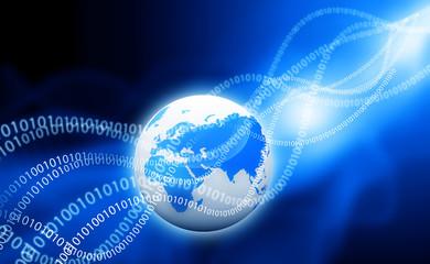 Earth globe with digital fibers.
