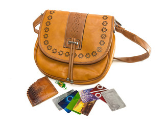 Ladies handbag, wallet and bank cards