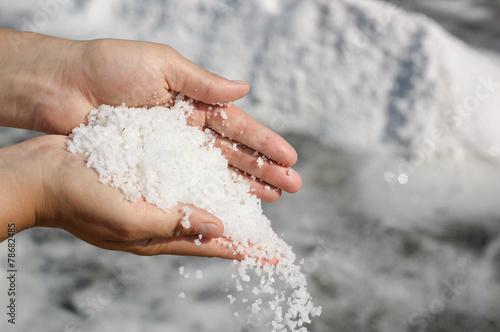 Plexiglas Spices Pile of freshly harvested salt