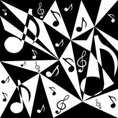 Vector abstract background with music notes in black and white c