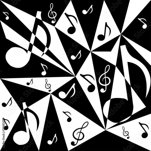 Tapeta ścienna na wymiar Vector abstract background with music notes in black and white c