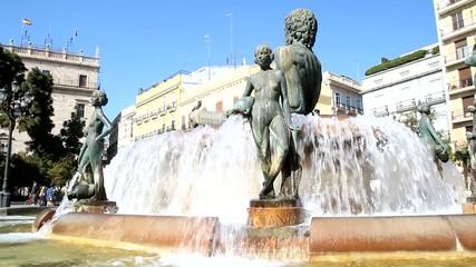 Turia Fountain in the Plaza de la Virgen in Valencia, Spain.