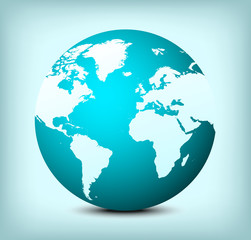 vector globe world map icon