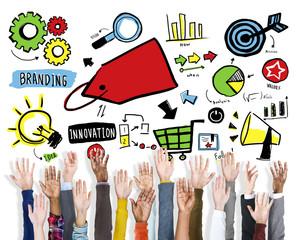 Diversity Hands Branding Volunteer Teamwork Support Concept