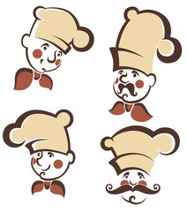 chef silhouettes, vector collection emblems for your menu