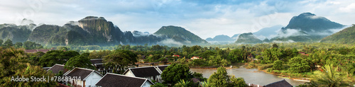 Deurstickers Overige View for panorama in Vang Vieng, Laos.