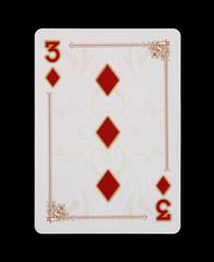 Spielkarten - Poker - Karo Drei im Spiel