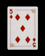 Spielkarten - Poker - Karo Fünf im Spiel