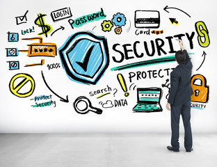 Businessman Writing Planning Security Protection Concept