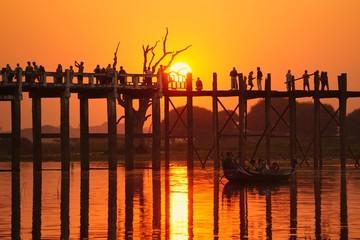 U Bein Bridge Mandalay Burma at sunset