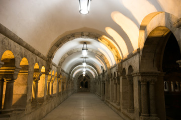 Fishermans Bastion gallery in Budapest in evening lights