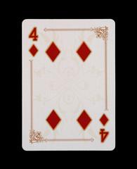 Spielkarten - Poker - Karo Vier im Spiel
