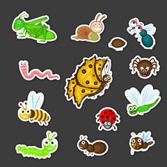 Collection of cute insects cartoon.