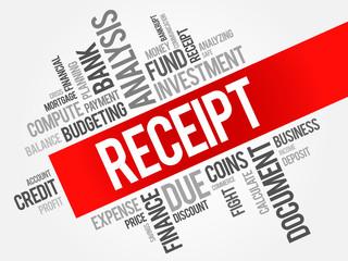 RECEIPT word cloud, business concept