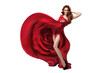 Beautiful young woman wearing red rose dress. Isolated. White ba
