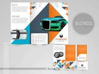 Tri-Fold brochure, template or flyer for Automobile Center.