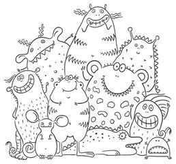 Happy cartoon monsters