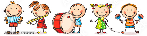 Children playing different musical instruments - 78684646