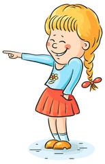 Laughing girl pointing at something