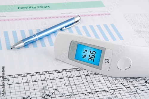 Contactless thermometer on fertility chart background - 78685098