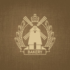 emblems for the bakery with a mill and a wreath of wheat