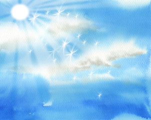 Bright sky with sun and clouds illustration